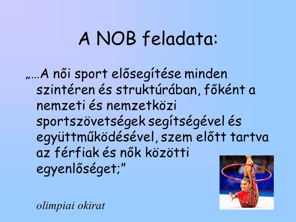 """A NOB feladata: """"…A női sport elősegítése minden szintéren és struktúrában, főként a nemzeti és nemzetközi sportszövetségek segítségével és együttműködésével, szem előtt tartva az férfiak és nők közötti egyenlőséget; olimpiai okirat"""
