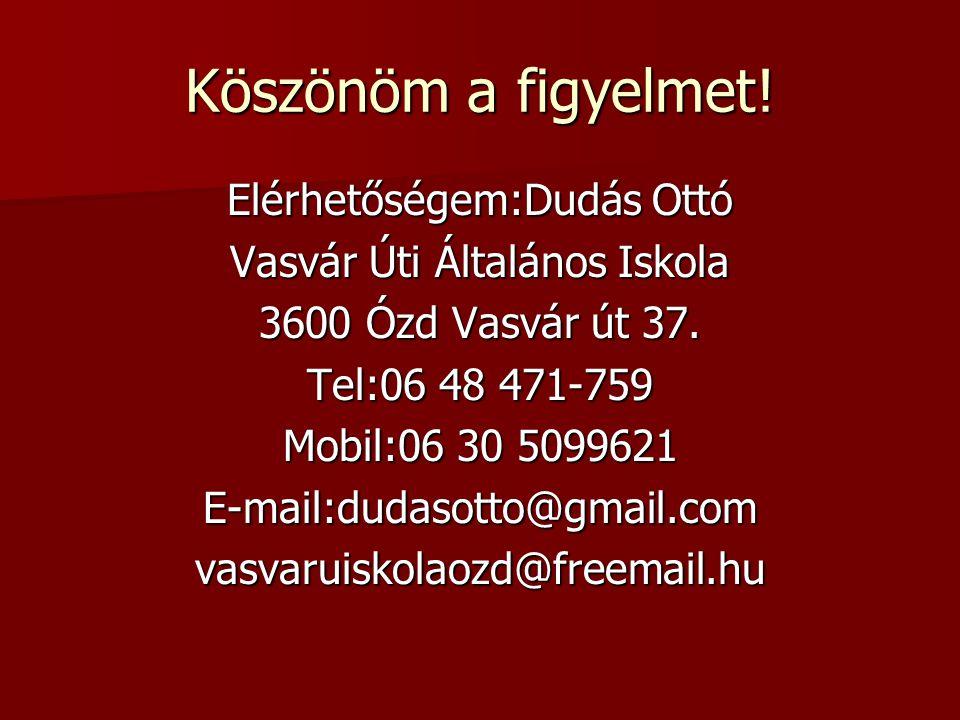 Köszönöm a figyelmet.Elérhetőségem:Dudás Ottó Vasvár Úti Általános Iskola 3600 Ózd Vasvár út 37.