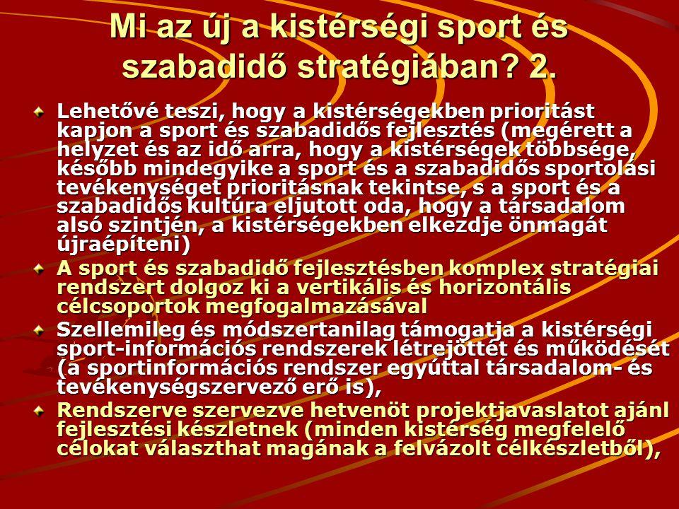 Mi az új a kistérségi sport és szabadidő stratégiában? 2. Lehetővé teszi, hogy a kistérségekben prioritást kapjon a sport és szabadidős fejlesztés (me