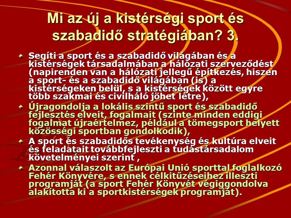 Mi az új a kistérségi sport és szabadidő stratégiában? 3. Segíti a sport és a szabadidő világában és a kistérségek társadalmában a hálózati szerveződé