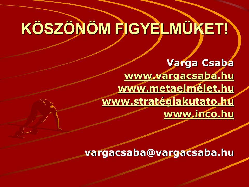 KÖSZÖNÖM FIGYELMÜKET! Varga Csaba www.vargacsaba.hu www.metaelmélet.hu www.stratégiakutato.hu www.inco.hu vargacsaba@vargacsaba.hu