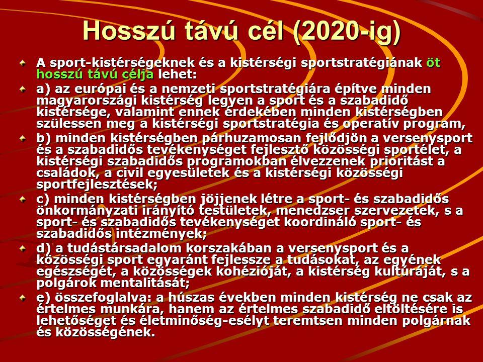Hosszú távú cél (2020-ig) A sport-kistérségeknek és a kistérségi sportstratégiának öt hosszú távú célja lehet: a) az európai és a nemzeti sportstratégiára építve minden magyarországi kistérség legyen a sport és a szabadidő kistérsége, valamint ennek érdekében minden kistérségben szülessen meg a kistérségi sportstratégia és operatív program, b) minden kistérségben párhuzamosan fejlődjön a versenysport és a szabadidős tevékenységet fejlesztő közösségi sportélet, a kistérségi szabadidős programokban élvezzenek prioritást a családok, a civil egyesületek és a kistérségi közösségi sportfejlesztések; c) minden kistérségben jöjjenek létre a sport- és szabadidős önkormányzati irányító testületek, menedzser szervezetek, s a sport- és szabadidős tevékenységet koordináló sport- és szabadidős intézmények; d) a tudástársadalom korszakában a versenysport és a közösségi sport egyaránt fejlessze a tudásokat, az egyének egészségét, a közösségek kohézióját, a kistérség kultúráját, s a polgárok mentalitását; e) összefoglalva: a húszas években minden kistérség ne csak az értelmes munkára, hanem az értelmes szabadidő eltöltésére is lehetőséget és életminőség-esélyt teremtsen minden polgárnak és közösségének.