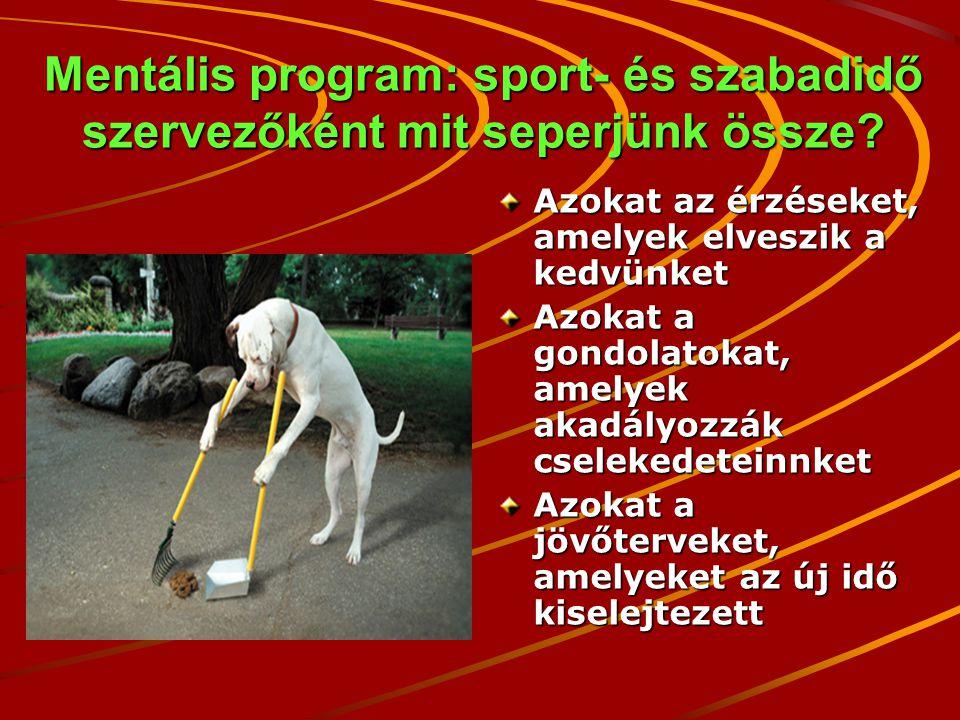 Mentális program: sport- és szabadidő szervezőként mit seperjünk össze.