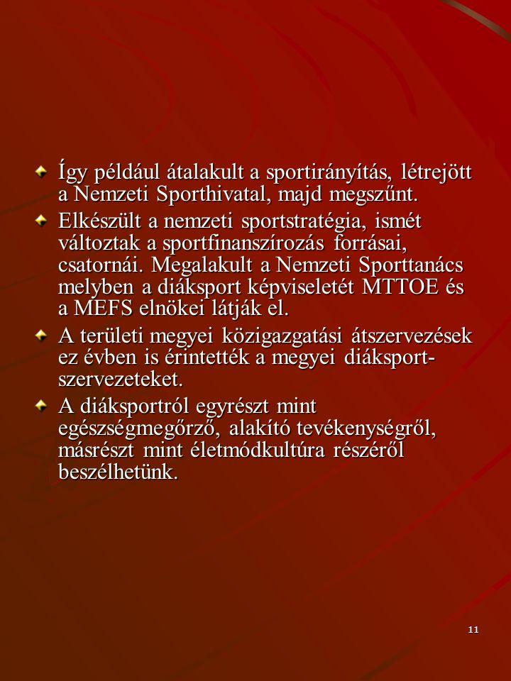 11 Így például átalakult a sportirányítás, létrejött a Nemzeti Sporthivatal, majd megszűnt. Elkészült a nemzeti sportstratégia, ismét változtak a spor