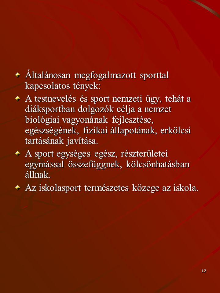 12 Általánosan megfogalmazott sporttal kapcsolatos tények: A testnevelés és sport nemzeti ügy, tehát a diáksportban dolgozók célja a nemzet biológiai