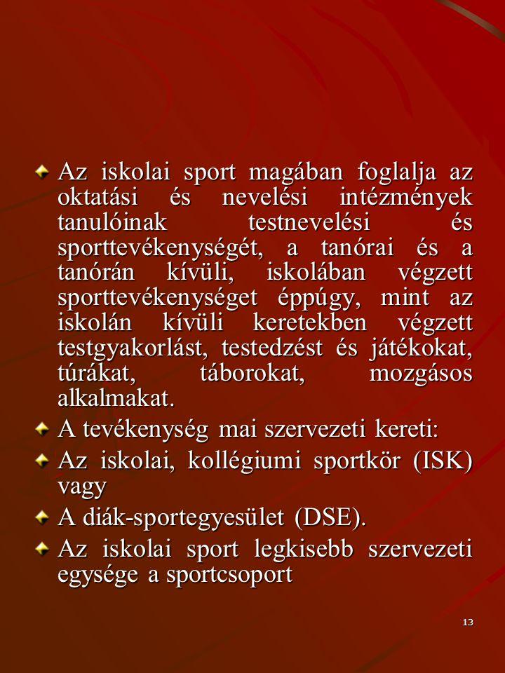 13 Az iskolai sport magában foglalja az oktatási és nevelési intézmények tanulóinak testnevelési és sporttevékenységét, a tanórai és a tanórán kívüli,