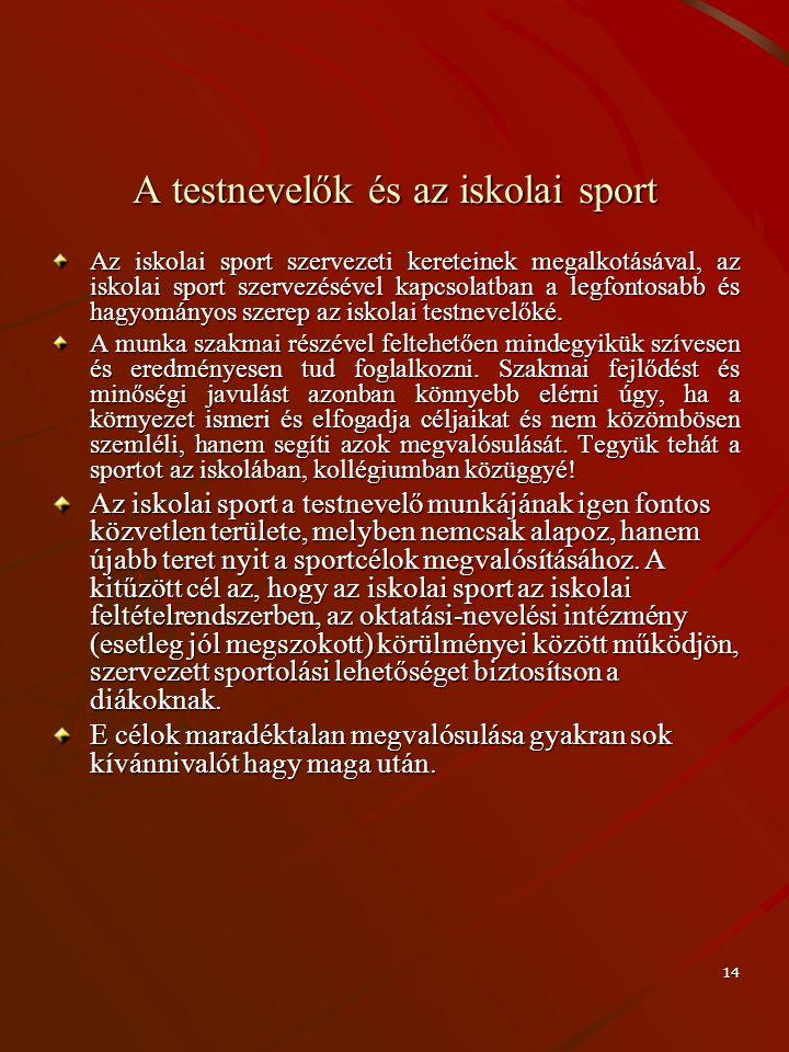 14 A testnevelők és az iskolai sport Az iskolai sport szervezeti kereteinek megalkotásával, az iskolai sport szervezésével kapcsolatban a legfontosabb
