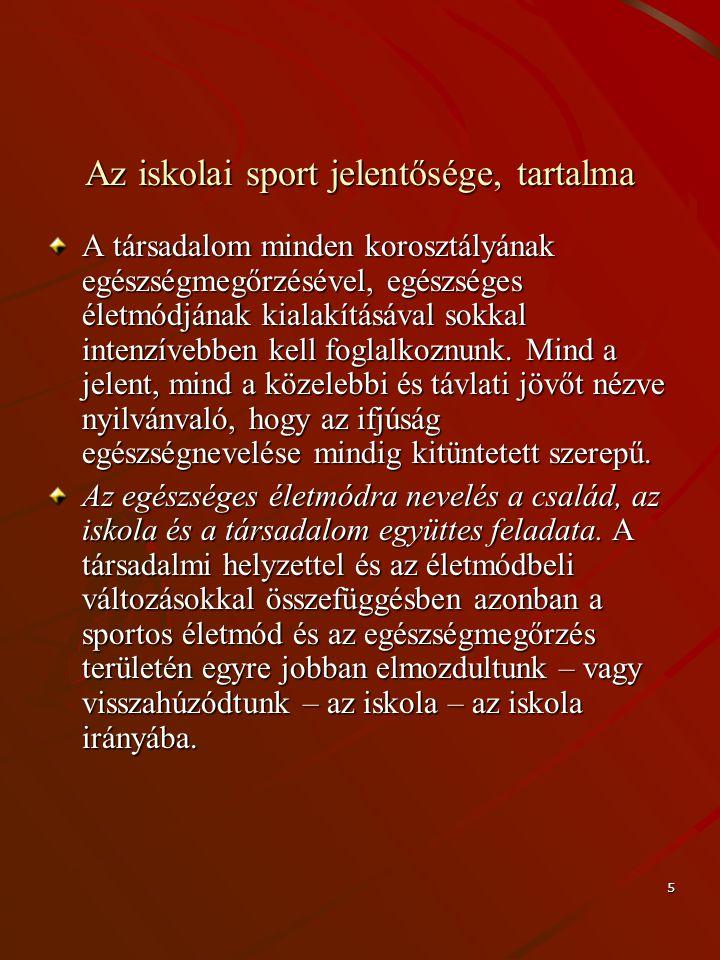 5 Az iskolai sport jelentősége, tartalma A társadalom minden korosztályának egészségmegőrzésével, egészséges életmódjának kialakításával sokkal intenz