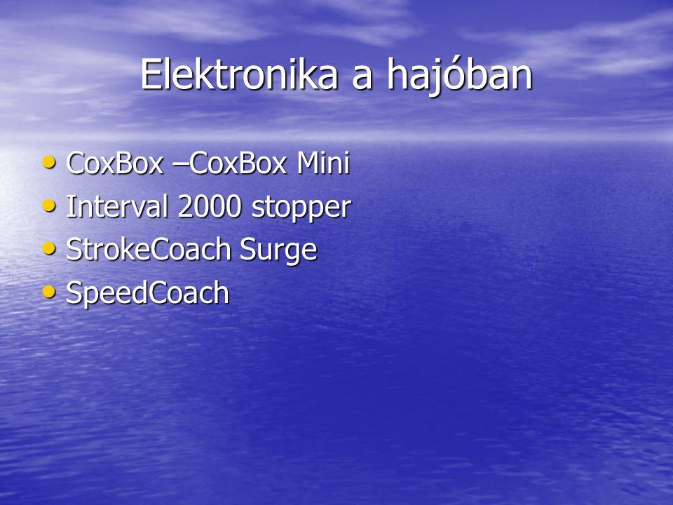 Elektronika a hajóban • CoxBox –CoxBox Mini • Interval 2000 stopper • StrokeCoach Surge • SpeedCoach