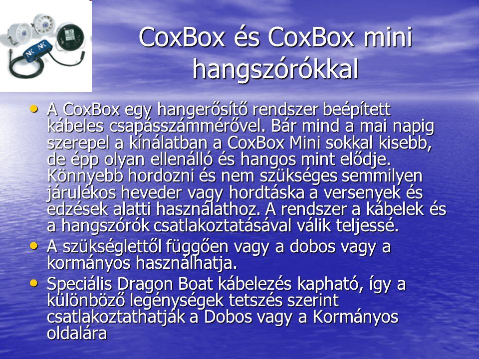 CoxBox és CoxBox mini hangszórókkal • A CoxBox egy hangerősítő rendszer beépített kábeles csapásszámmérővel.