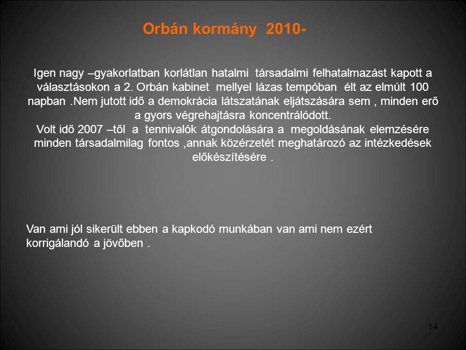 14 Orbán kormány 2010- Igen nagy –gyakorlatban korlátlan hatalmi társadalmi felhatalmazást kapott a választásokon a 2. Orbán kabinet mellyel lázas tem