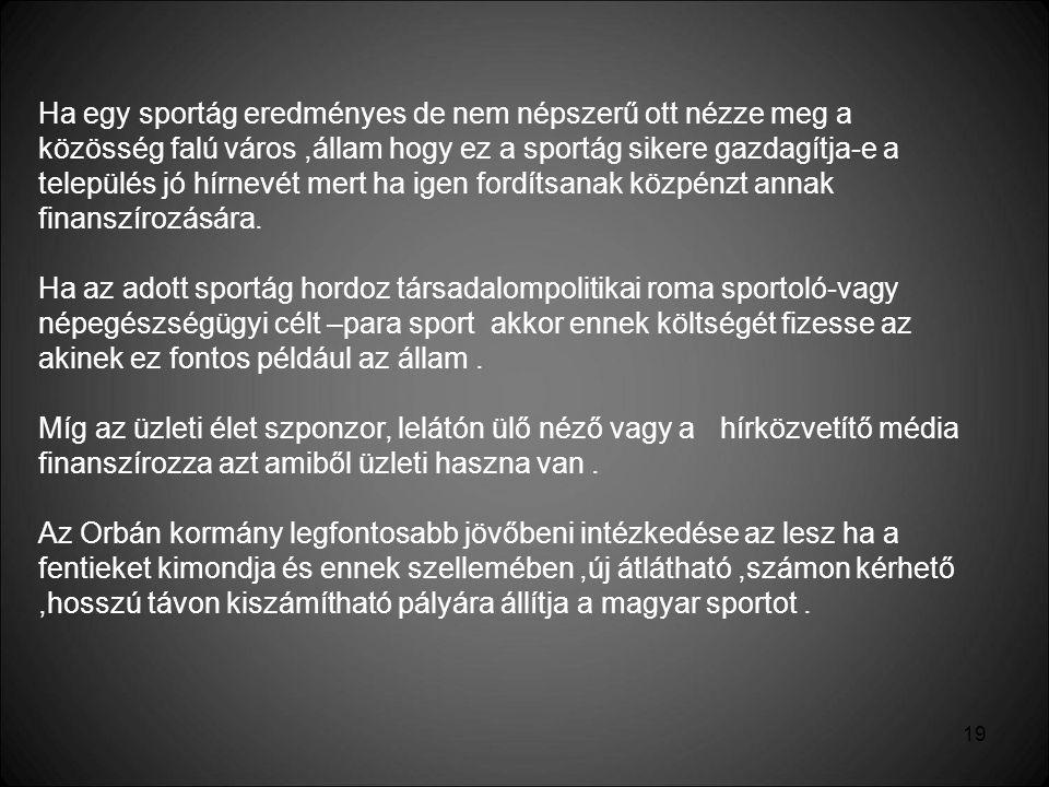19 Ha egy sportág eredményes de nem népszerű ott nézze meg a közösség falú város,állam hogy ez a sportág sikere gazdagítja-e a település jó hírnevét m