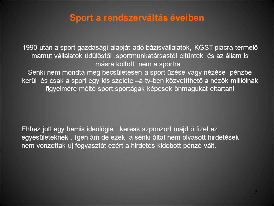 7 Sport a rendszerváltás éveiben 1990 után a sport gazdasági alapját adó bázisvállalatok, KGST piacra termelő mamut vállalatok üdülőstől,sportmunkatár
