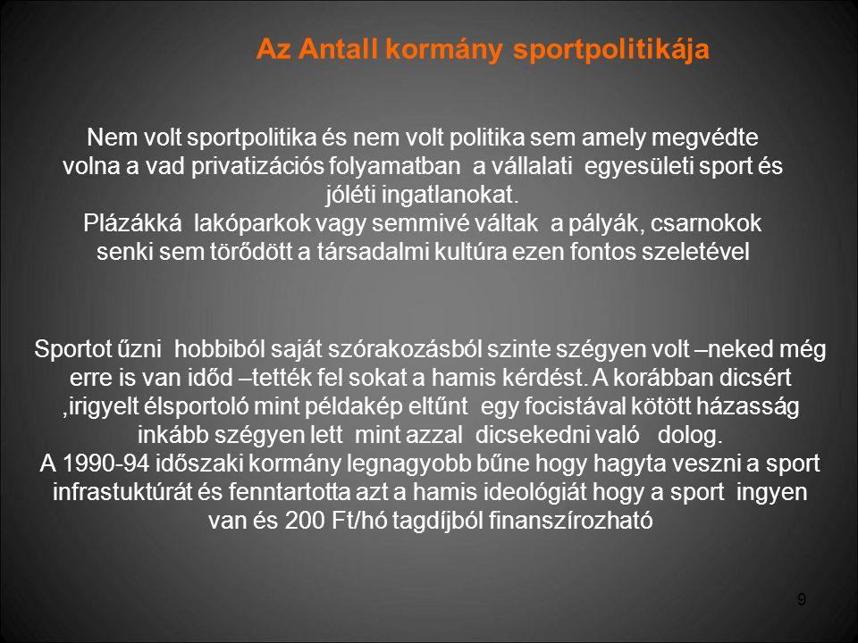 9 Az Antall kormány sportpolitikája Nem volt sportpolitika és nem volt politika sem amely megvédte volna a vad privatizációs folyamatban a vállalati e