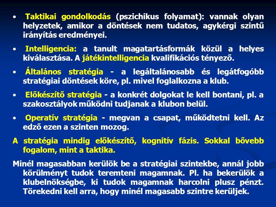 • Taktikai gondolkodás (pszichikus folyamat): vannak olyan helyzetek, amikor a döntések nem tudatos, agykérgi szintű irányítás eredményei. • Intellige