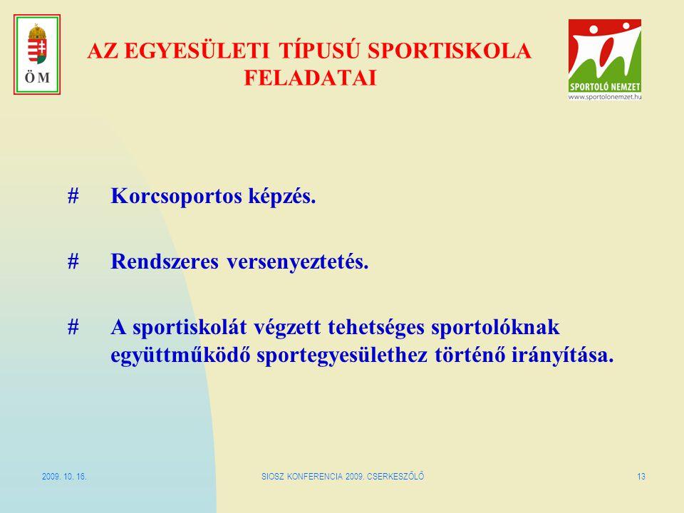 2009. 10. 16.SIOSZ KONFERENCIA 2009. CSERKESZŐLŐ13 AZ EGYESÜLETI TÍPUSÚ SPORTISKOLA FELADATAI #Korcsoportos képzés. #Rendszeres versenyeztetés. #A spo