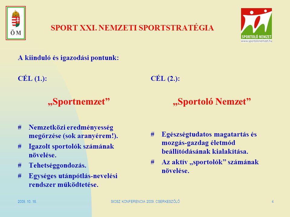"""2009. 10. 16.SIOSZ KONFERENCIA 2009. CSERKESZŐLŐ4 SPORT XXI. NEMZETI SPORTSTRATÉGIA A kiinduló és igazodási pontunk: CÉL (1.): """"Sportnemzet"""" #Nemzetkö"""