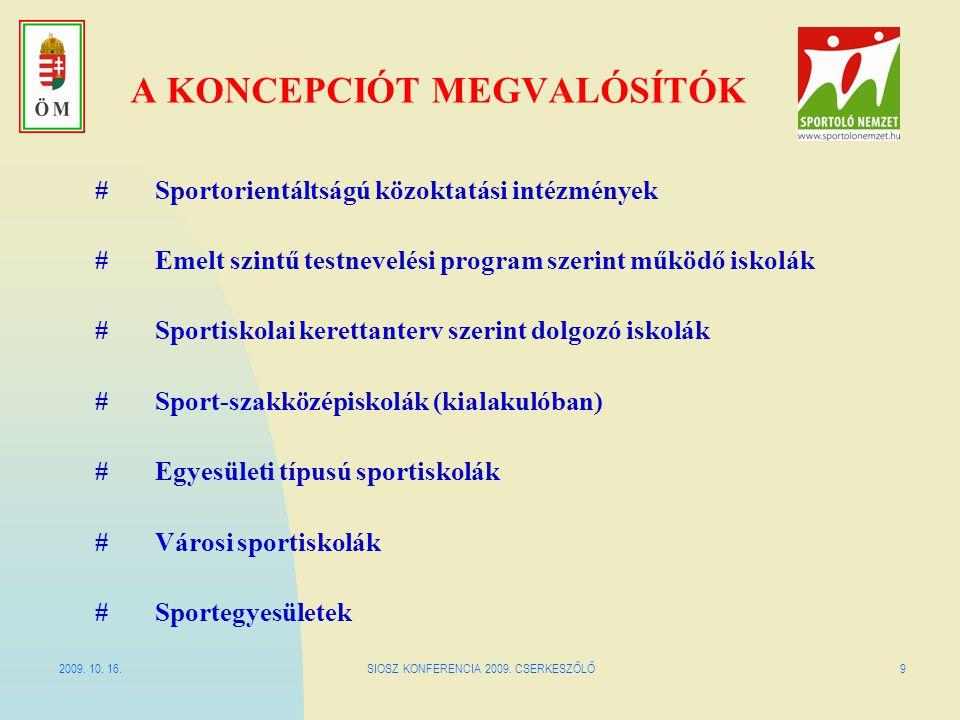 2009. 10. 16.SIOSZ KONFERENCIA 2009. CSERKESZŐLŐ9 A KONCEPCIÓT MEGVALÓSÍTÓK #Sportorientáltságú közoktatási intézmények # Emelt szintű testnevelési pr