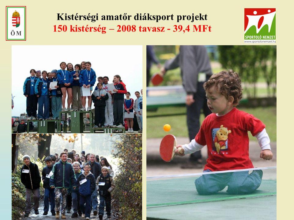 Kistérségi amatőr diáksport projekt 150 kistérség – 2008 tavasz - 39,4 MFt