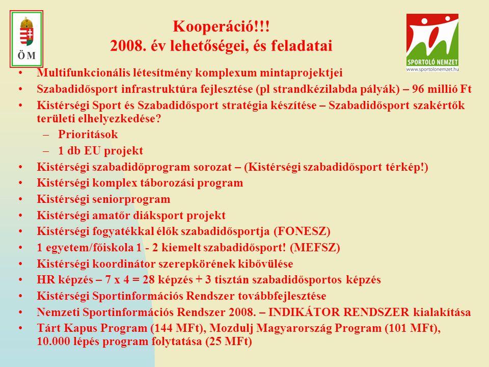 Kooperáció!!! 2008. év lehetőségei, és feladatai •Multifunkcionális létesítmény komplexum mintaprojektjei •Szabadidősport infrastruktúra fejlesztése (