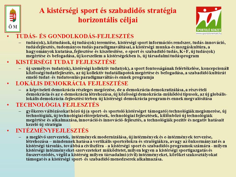 A kistérségi sport és szabadidős stratégia horizontális céljai •TUDÁS- ÉS GONDOLKODÁS-FEJLESZTÉS –tudás(ok), köztudások, új tudás(ok) teremtése, kisté