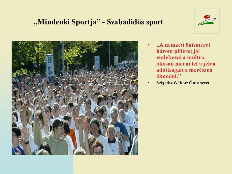 """""""Mindenki Sportja"""" - Szabadidős sport •""""A nemzeti önismeret három pillére: jól emlékezni a múltra, okosan mérni fel a jelen adottságait s merészen álm"""