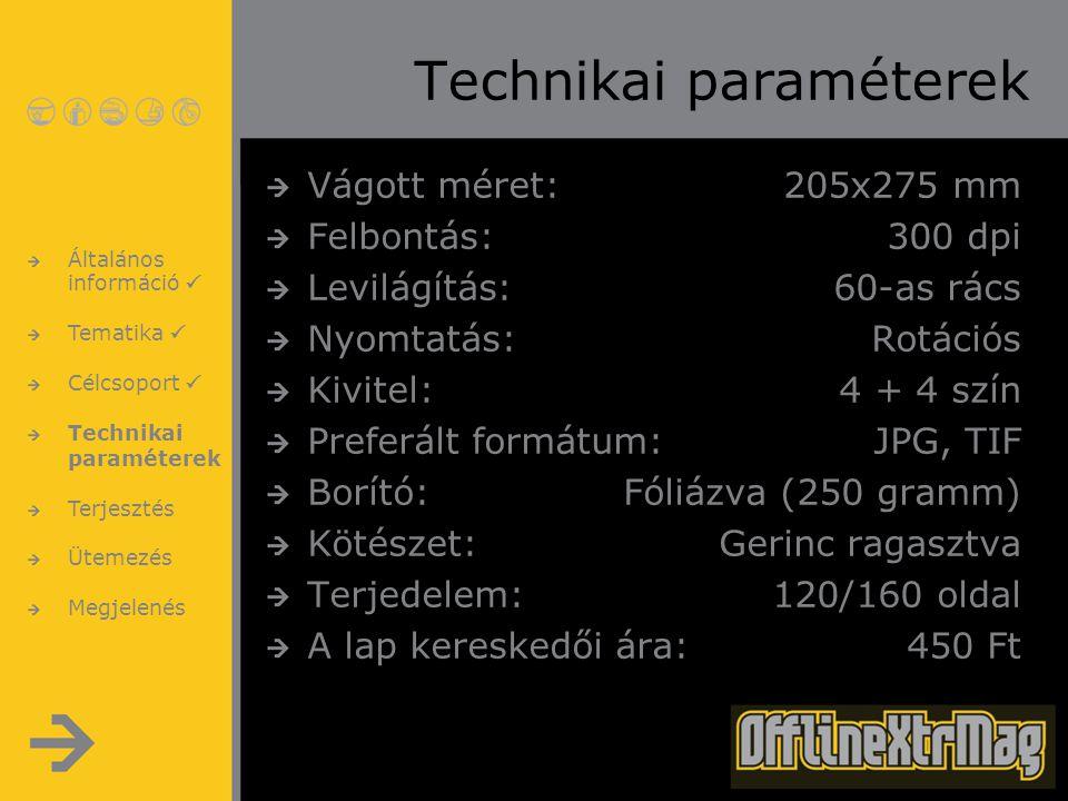Technikai paraméterek Vágott méret:205x275 mm Felbontás:300 dpi Levilágítás:60-as rács Nyomtatás:Rotációs Kivitel:4 + 4 szín Preferált formátum:JPG, T