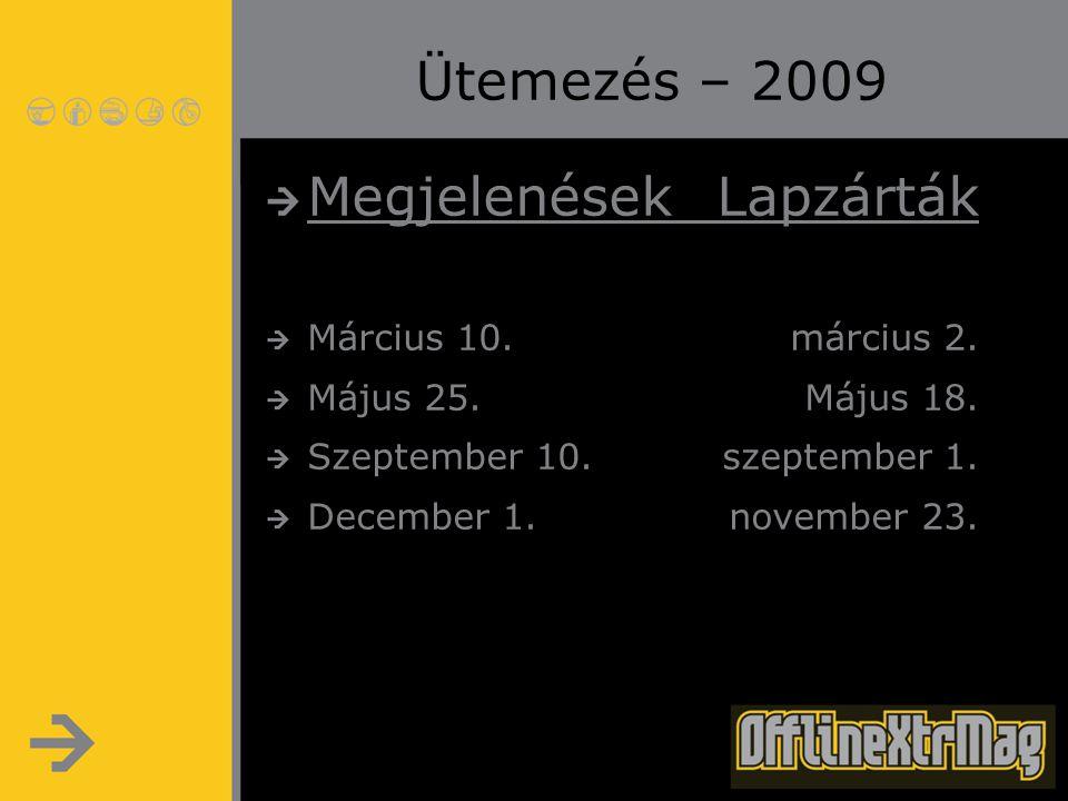 Ütemezés – 2009 MegjelenésekLapzárták Március 10.március 2. Május 25.Május 18. Szeptember 10.szeptember 1. December 1.november 23.