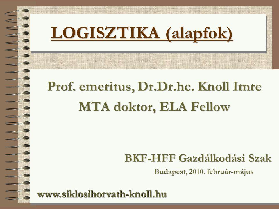 LOGISZTIKA (alapfok) LOGISZTIKA (alapfok) Prof.emeritus, Dr.Dr.hc.