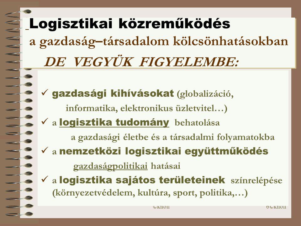 ©knoll6©knoll Logisztikai közreműködés a gazdaság–társadalom kölcsönhatásokban DE VEGYÜK FIGYELEMBE:  gazdasági kihívásokat (globalizáció, informatika, elektronikus üzletvitel…)  a logisztika tudomány behatolása a gazdasági életbe és a társadalmi folyamatokba  a nemzetközi logisztikai együttműködés gazdaságpolitikai hatásai  a logisztika sajátos területeinek színrelépése (környezetvédelem, kultúra, sport, politika,…)