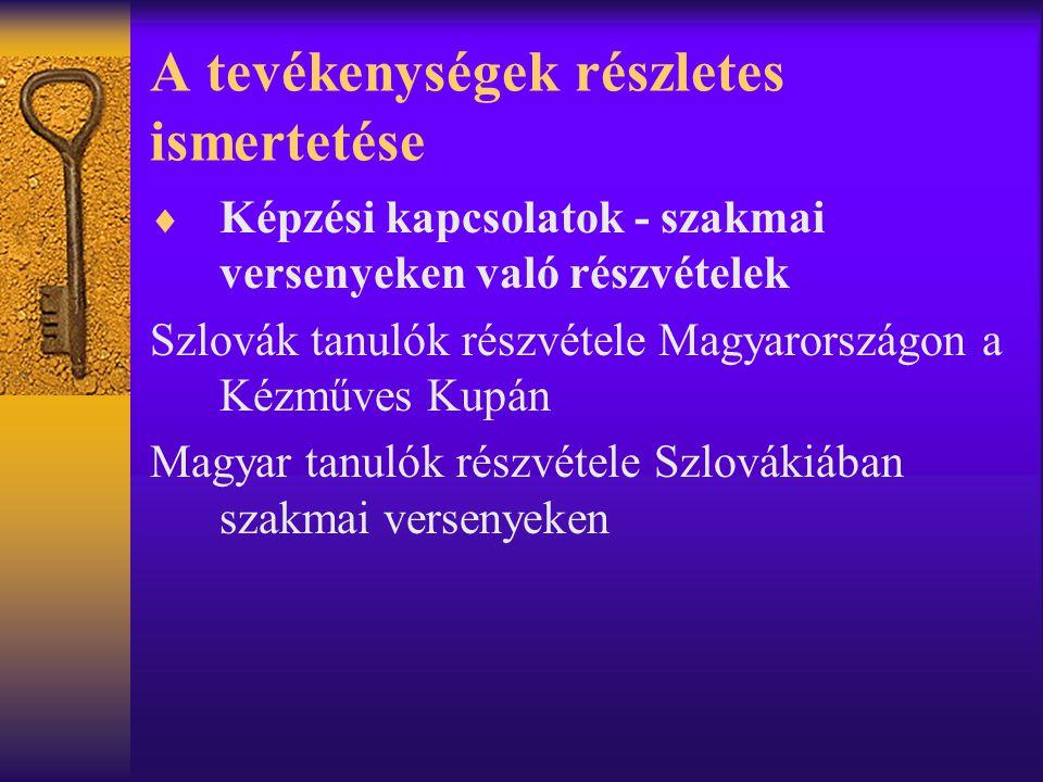 A tevékenységek részletes ismertetése  Képzési kapcsolatok - szakmai versenyeken való részvételek Szlovák tanulók részvétele Magyarországon a Kézműves Kupán Magyar tanulók részvétele Szlovákiában szakmai versenyeken