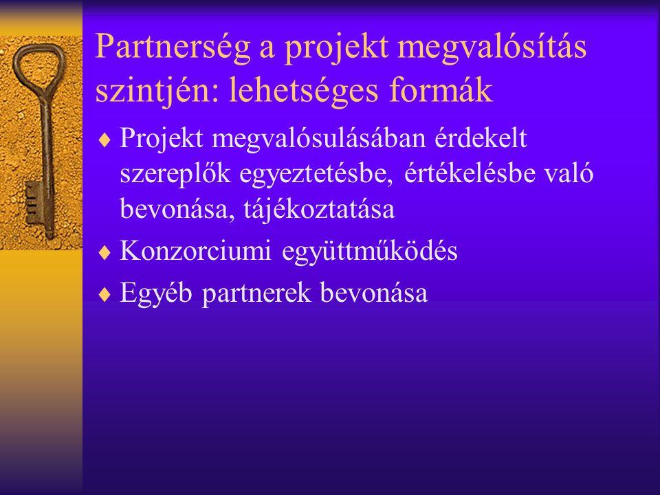 Partnerség a projekt megvalósítás szintjén: lehetséges formák  Projekt megvalósulásában érdekelt szereplők egyeztetésbe, értékelésbe való bevonása, tájékoztatása  Konzorciumi együttműködés  Egyéb partnerek bevonása