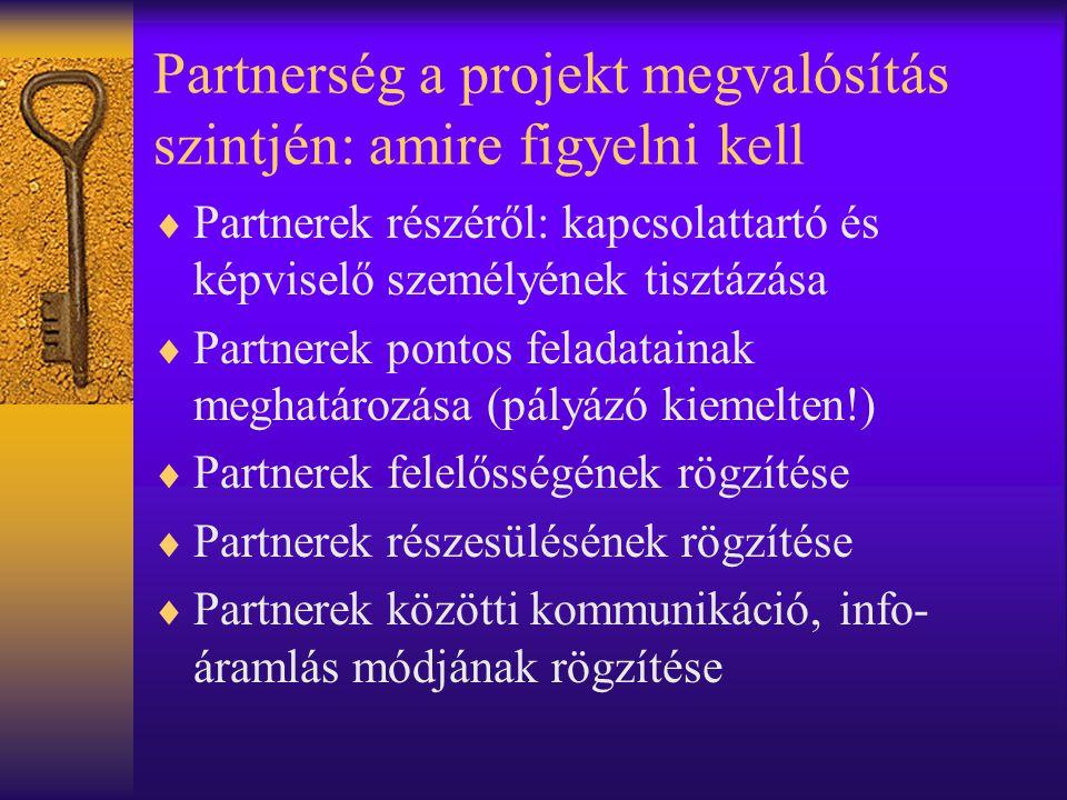 Partnerség a projekt megvalósítás szintjén: amire figyelni kell  Partnerek részéről: kapcsolattartó és képviselő személyének tisztázása  Partnerek pontos feladatainak meghatározása (pályázó kiemelten!)  Partnerek felelősségének rögzítése  Partnerek részesülésének rögzítése  Partnerek közötti kommunikáció, info- áramlás módjának rögzítése