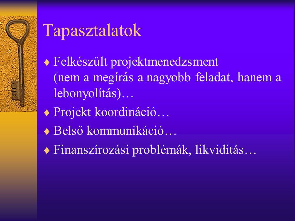 Tapasztalatok  Felkészült projektmenedzsment (nem a megírás a nagyobb feladat, hanem a lebonyolítás)…  Projekt koordináció…  Belső kommunikáció…  Finanszírozási problémák, likviditás…