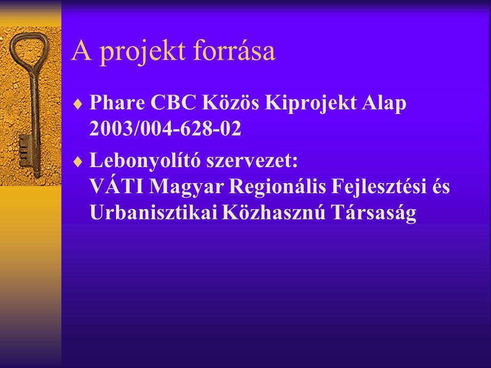 A projekt forrása  Phare CBC Közös Kiprojekt Alap 2003/004-628-02  Lebonyolító szervezet: VÁTI Magyar Regionális Fejlesztési és Urbanisztikai Közhasznú Társaság