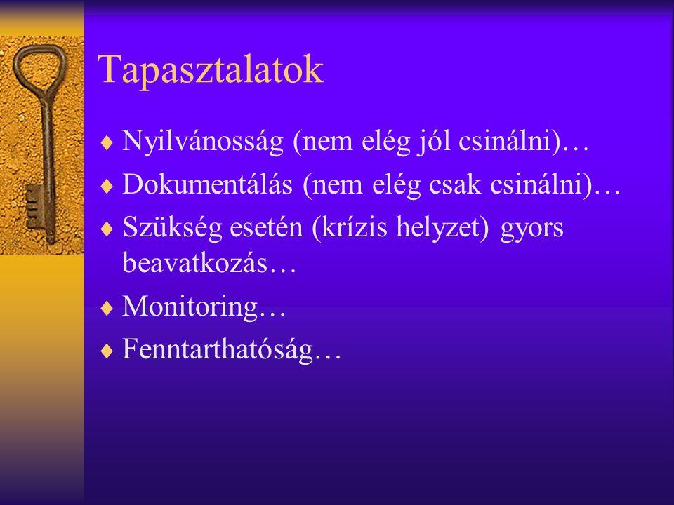 Tapasztalatok  Nyilvánosság (nem elég jól csinálni)…  Dokumentálás (nem elég csak csinálni)…  Szükség esetén (krízis helyzet) gyors beavatkozás…  Monitoring…  Fenntarthatóság…