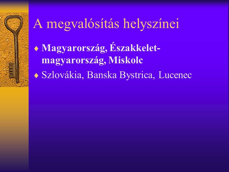 A megvalósítás helyszínei  Magyarország, Északkelet- magyarország, Miskolc  Szlovákia, Banska Bystrica, Lucenec