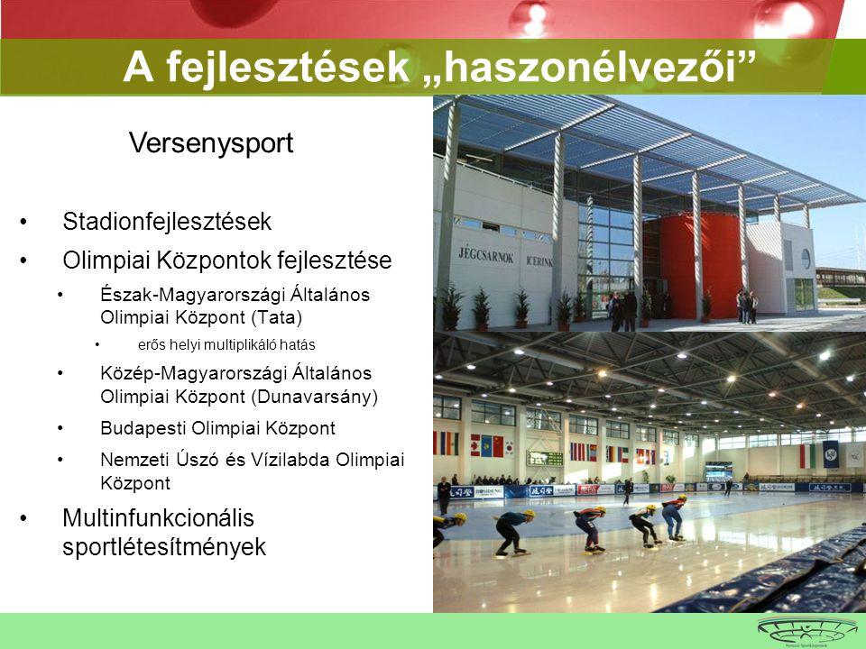 """•Stadionfejlesztések •Olimpiai Központok fejlesztése •Észak-Magyarországi Általános Olimpiai Központ (Tata) •erős helyi multiplikáló hatás •Közép-Magyarországi Általános Olimpiai Központ (Dunavarsány) •Budapesti Olimpiai Központ •Nemzeti Úszó és Vízilabda Olimpiai Központ •Multinfunkcionális sportlétesítmények A fejlesztések """"haszonélvezői Versenysport"""