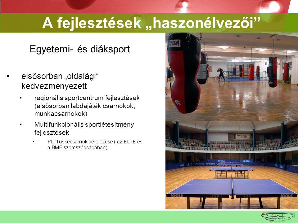 """A fejlesztések """"haszonélvezői Egyetemi- és diáksport •elsősorban """"oldalági kedvezményezett •regionális sportcentrum fejlesztések (elsősorban labdajáték csarnokok, munkacsarnokok) •Multifunkcionális sportlétesítmény fejlesztések •PL: Tüskecsarnok befejezése ( az ELTE és a BME szomszédságában)"""