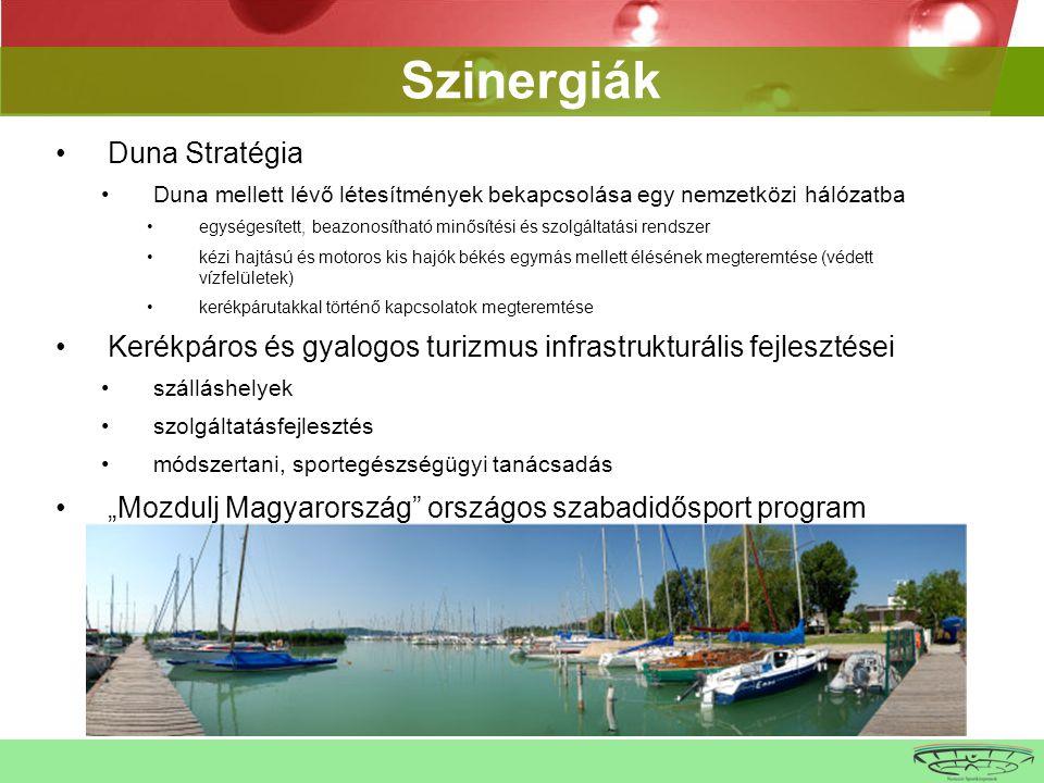 """•Duna Stratégia •Duna mellett lévő létesítmények bekapcsolása egy nemzetközi hálózatba •egységesített, beazonosítható minősítési és szolgáltatási rendszer •kézi hajtású és motoros kis hajók békés egymás mellett élésének megteremtése (védett vízfelületek) •kerékpárutakkal történő kapcsolatok megteremtése •Kerékpáros és gyalogos turizmus infrastrukturális fejlesztései •szálláshelyek •szolgáltatásfejlesztés •módszertani, sportegészségügyi tanácsadás •""""Mozdulj Magyarország országos szabadidősport program •téli sportok wrtbwrbwr Szinergiák"""