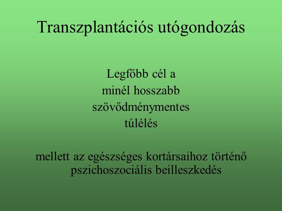 Transzplantációs utógondozás Legfőbb cél a minél hosszabb szövődménymentes túlélés mellett az egészséges kortársaihoz történő pszichoszociális beilles