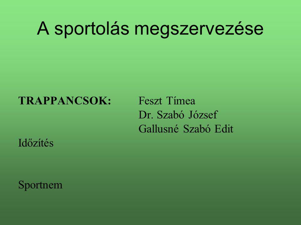 A sportolás megszervezése TRAPPANCSOK:Feszt Tímea Dr. Szabó József Gallusné Szabó Edit Időzítés Sportnem
