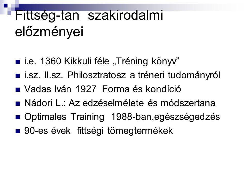 """Fittség-tan szakirodalmi előzményei  i.e. 1360 Kikkuli féle """"Tréning könyv""""  i.sz. II.sz. Philosztratosz a tréneri tudományról  Vadas Iván 1927 For"""