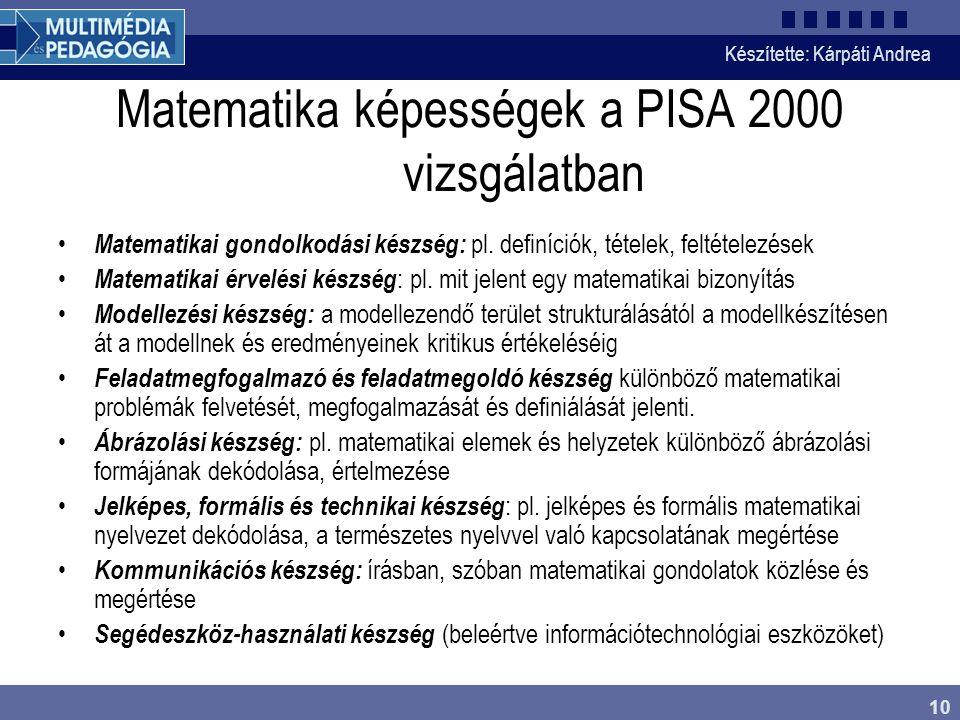 Készítette: Kárpáti Andrea 10 Matematika képességek a PISA 2000 vizsgálatban • Matematikai gondolkodási készség: pl.
