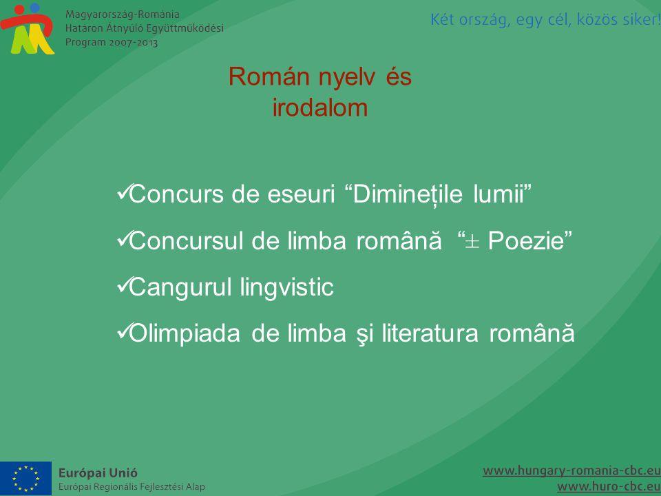 """Román nyelv és irodalom  Concurs de eseuri """"Dimineţile lumii""""  Concursul de limba română """"± Poezie""""  Cangurul lingvistic  Olimpiada de limba şi li"""