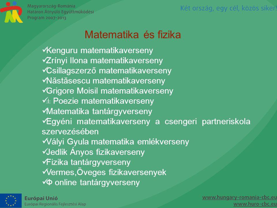 Matematika és fizika  Kenguru matematikaverseny  Zrínyi Ilona matematikaverseny  Csillagszerző matematikaverseny  Năstăsescu matematikaverseny  G