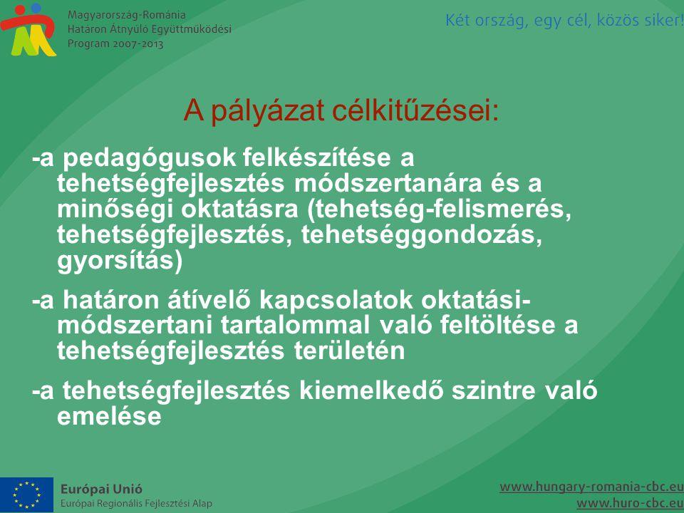 A pályázat célkitűzései: -a pedagógusok felkészítése a tehetségfejlesztés módszertanára és a minőségi oktatásra (tehetség-felismerés, tehetségfejleszt