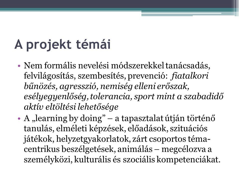 A projekt témái •Nem formális nevelési módszerekkel tanácsadás, felvilágosítás, szembesítés, prevenció: fiatalkori bűnözés, agresszió, nemiség elleni