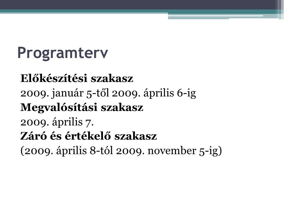 Programterv Előkészítési szakasz 2009. január 5-től 2009. április 6-ig Megvalósítási szakasz 2009. április 7. Záró és értékelő szakasz (2009. április