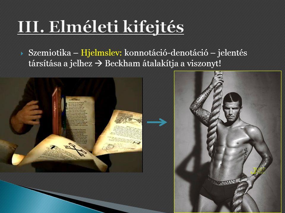 Szemiotika – Hjelmslev: konnotáció-denotáció – jelentés társítása a jelhez  Beckham átalakítja a viszonyt!